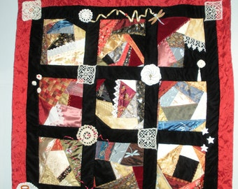 My Crazy Life  crazy quilt wall hanging