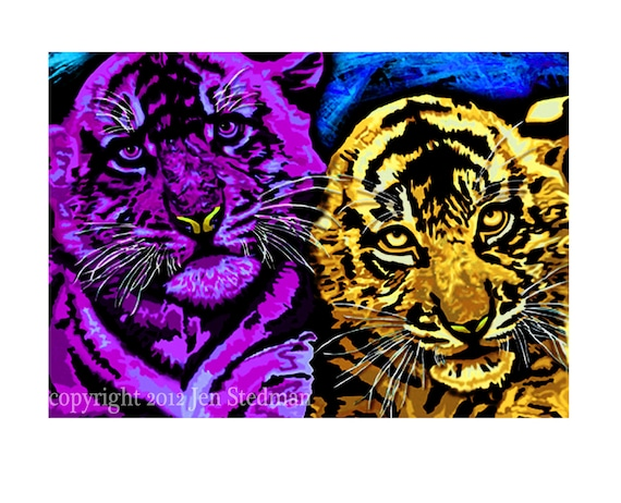 hand painted wild colors Tiger cub unique art print, kid friendly
