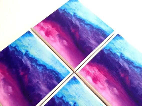 Watercolor Art Print Ceramic Tile Drink Coasters – Set of 4