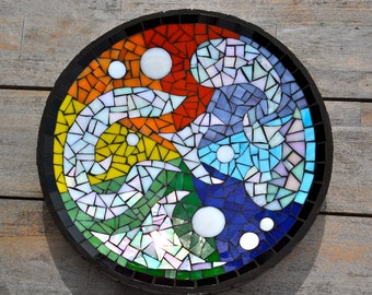 Rainbow mosaic dish stained glass