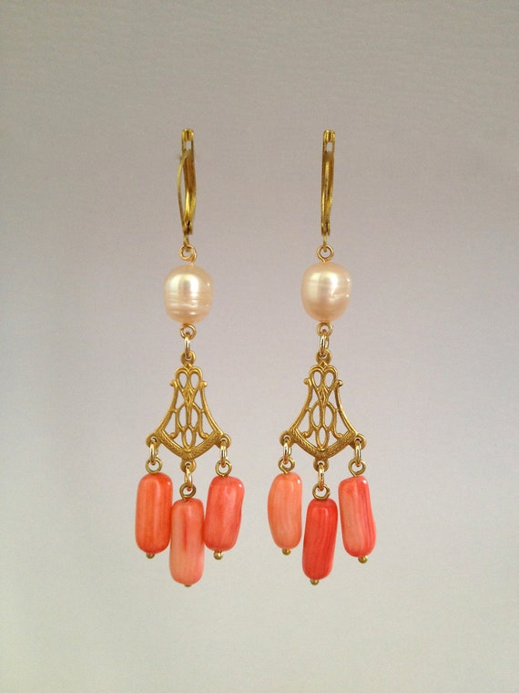 Chandelier Earring with Pearls & Bamboo Coral Stones