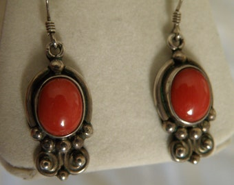 Sterling Coral Earrings - marked Sterling