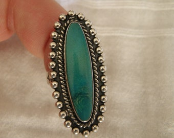 Native American Sterling Silver Turquoise Ring - Size 6 1/2 U.S.