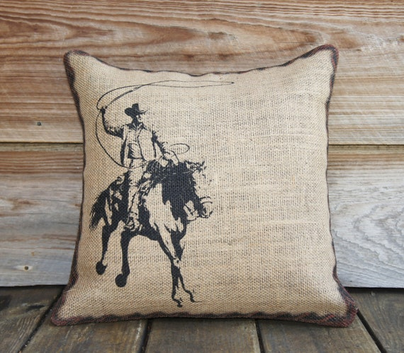 Burlap Throw Pillows Etsy : Burlap Pillow Cover of Cowboy Cushion Throw by TheWatsonShop