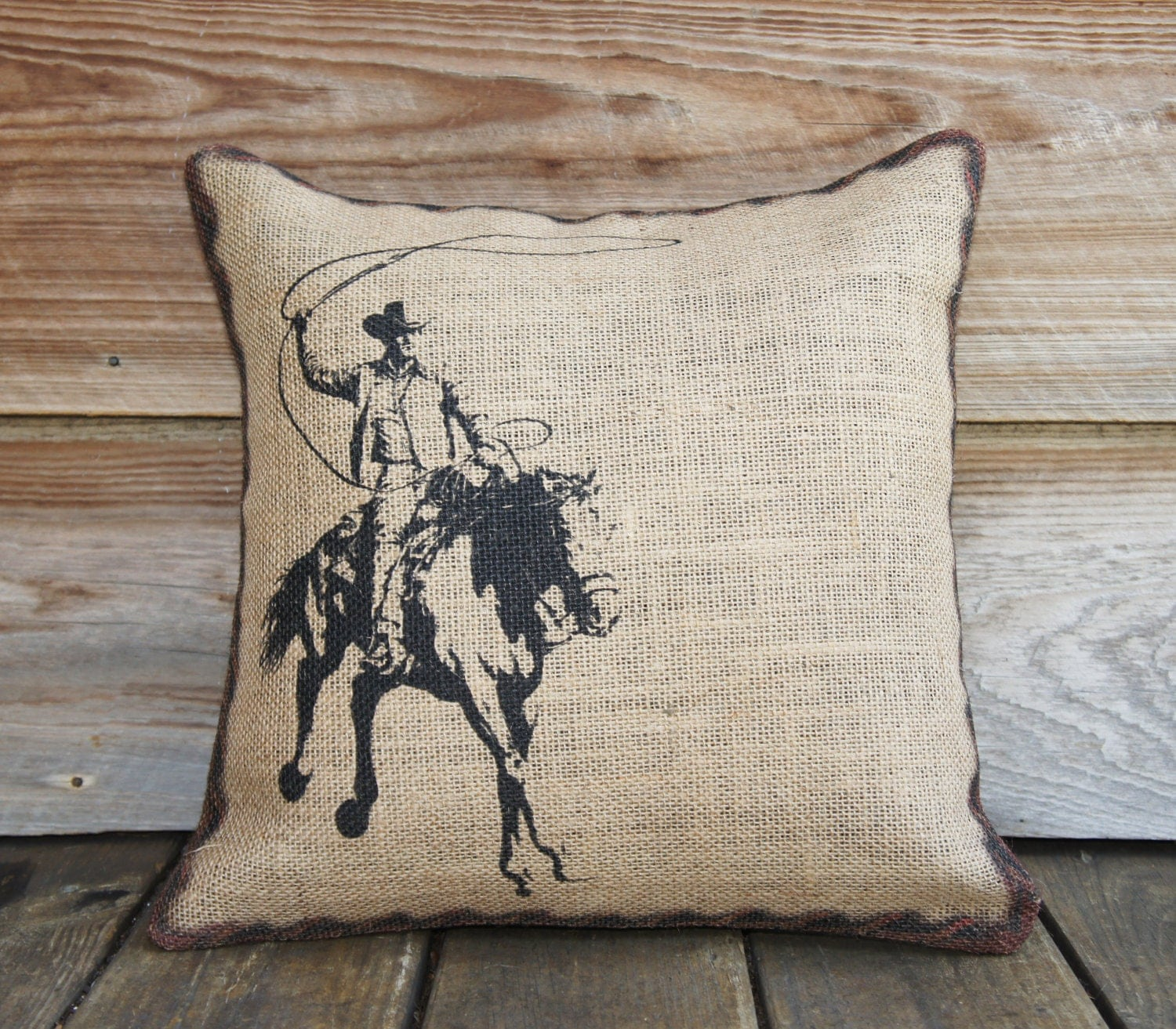 Western Throw Pillows For Couch : Burlap Pillow of Cowboy, Cushion, Throw Pillow, Western