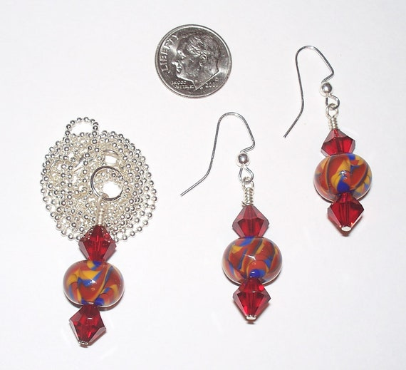 Gorgeous Handmade Yellow, Red and Blue Marble Swirl Lampwork Necklace & Earrings Set with Swarovski Crystals