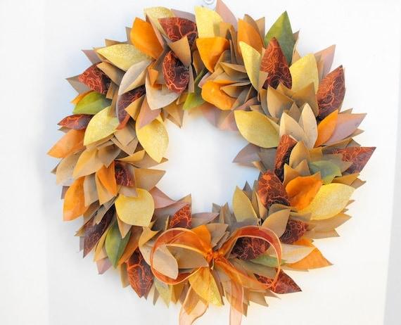 Fall Wreath Autumn Wreath Paper By Moonflowernatureart On Etsy