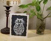 Rhinestone Polka Dot Cat Linocut Notecard