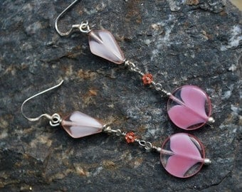 Charming Pink Antique Glass Bead Dangle Earrings