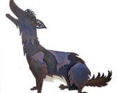 Life-sized Abstract Steel Howling Coyote Sculpture