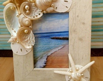 Beach Decor Seashell Picture Frame - Shell Frame - White Shells and Starfish Shell Picture Frame - Beach wedding