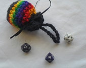 Crochet Drawstring Pouch- Rainbow Colors with Navy Trim, Free Shipping