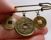 Bronze Japanese Chinese Coin Pin