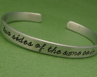 Merlin Inspired - Two Sides Of The Same Coin - A Hand Stamped Bracelet in Aluminum or Sterling Silver