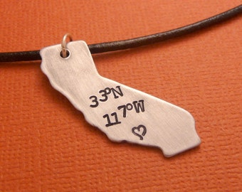 Personalized State Necklace - Latitude & Longitude - A Hand Stamped Aluminum Necklace