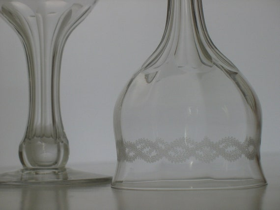 Etched Hollow Stem Champagne Glasses