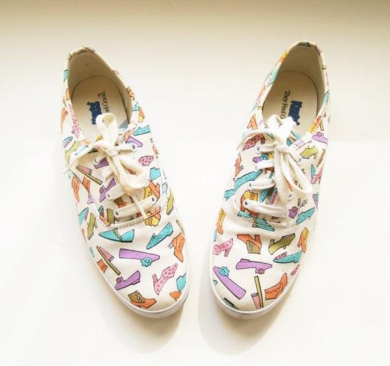 Vintage Keds Shoes / Sneakers / Tennis / White / Shoe Print / Size 7