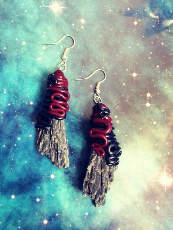 Raw black kyanite crystal tentacle earrings