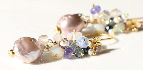 Mauve Pondslime Pearl Ceylonese Moonstone Opal Mystic Quartz Sapphire Sillimanite Gold Vermeil Dangle Earrings