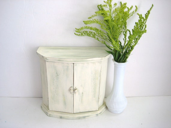 Little Storage Cabinet - Ivory Mint Green - Upcycled - Shabby Chic Distressed