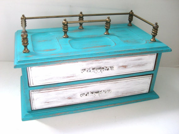 Aqua White Jewelry Box - Shabby Chic Distressed - Large