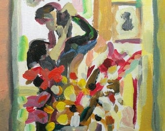 Fine Art Giclee Print,  Woman, Flowers, Mirror Image, Taking a Picture in a Mirror, Camera, Acrylic Painting by Robert Maitland 8 x 10