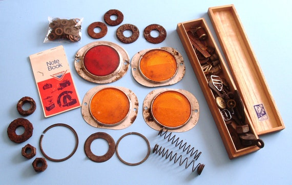 Rusty destash lot, over 100 pieces including vintage reflectors, copper washers, and vintage wood box