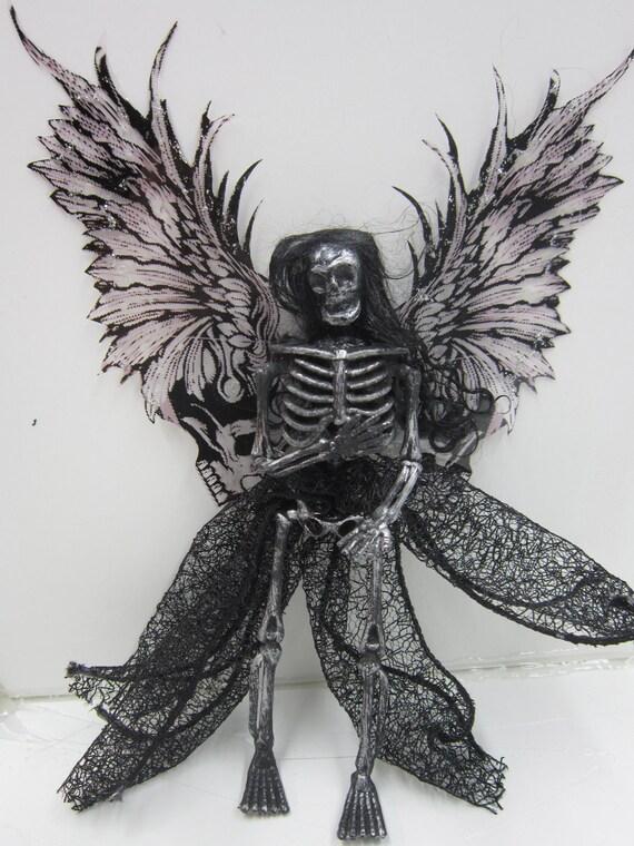 OOAK dead TOOTH FAIRY Goth art doll miniature skeleton ornament dollhouse shelf sitter Angel of death skull