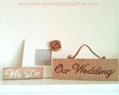 Burlap Wedding Set- Small sign, Large hanging sign, Photo frame