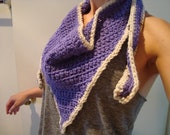 Purple Crocheted scarf with tan outline. Scarflett style, Devil Lock Scarf