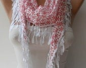 BIG SALE - Gift - Perforated Fabric - White and Red Cotton Scarf with White Trim Edge
