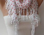 New Gift Scarf - Mother's Day Gift - White and Red Polka Dot Scarf with White Trim Edge