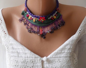 Purple Green and Pink  Necklace - Special Design - Perfect Gift - Crochet and Bead Necklace