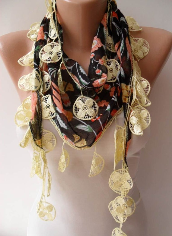 Black and  Flowered Scarf with Yellow Trim Edge - Summer Colors