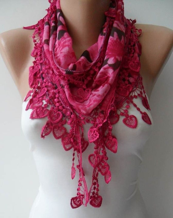 Dark Pink Scarf with Trim Edge - Summer Colors - New