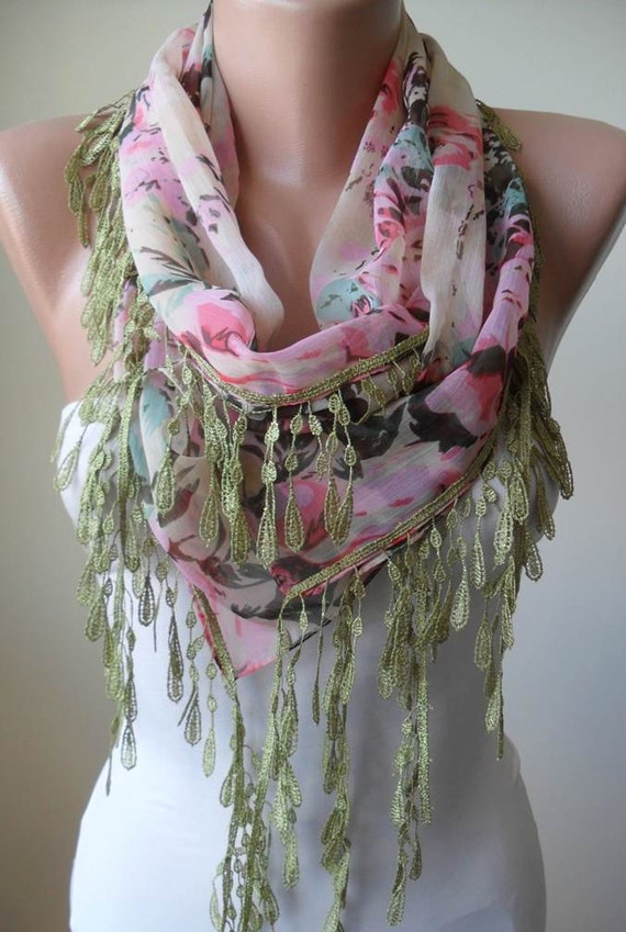 Flowered Pink Chiffon Scarf with Green Trim Edge