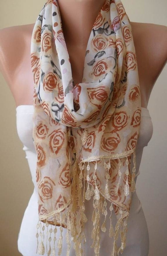 Mother's Day - Beige Scarf - Roses and Butterflies Silk Chiffon Scarf with Trim Edge