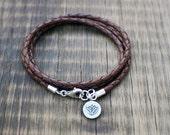 Yoga Wrap Bracelet - Triple Wrap Leather Braided Bolo Cord with Thai Silver Yoga Lotus Charm
