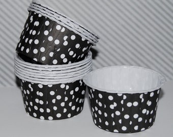 Candy Cups - Black  Polka Dot  Baking cups cupcake liners grease proof muffin cups Icecream treat dessert portion cups - (24) count