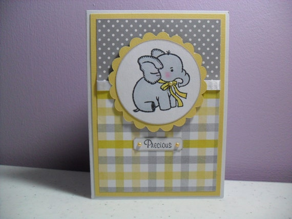 Handmade Baby Card - Baby Elephant Card - Gray/Yellow