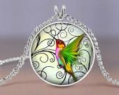 "Hummingbird Jewelry - Green Hummingbird 20mm Necklace - 18"" Chain Included - Hummingbird Charm Pendant Necklace - Bird Art Necklace"