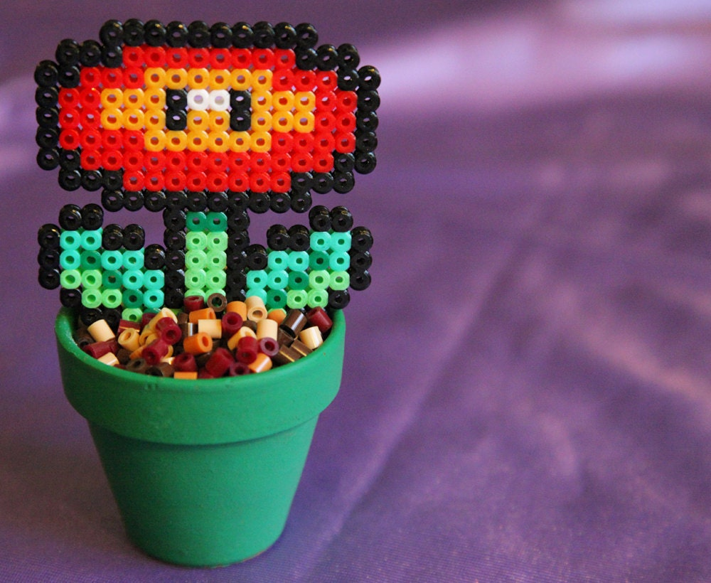 super mario inspired potted fire flower detachable. Black Bedroom Furniture Sets. Home Design Ideas