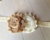 Ivory and Tan Double Shabby Chic Flower