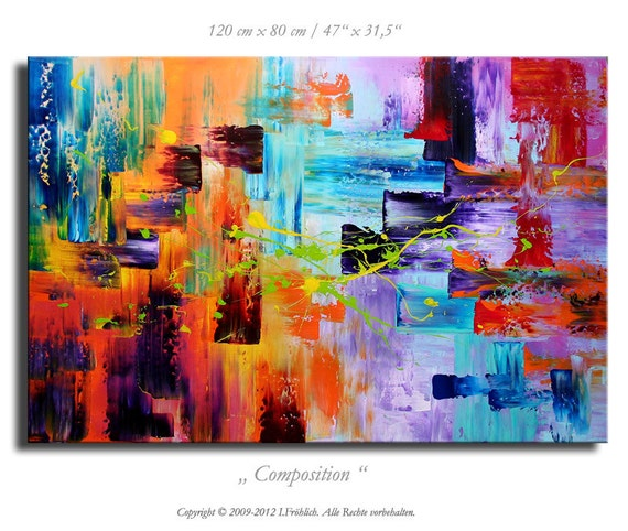 """Abstract painting XXL 47"""" x 31,5""""  on canvas modern contemporary art huge artwork decoration color abstract colorful crazy XXL huge"""