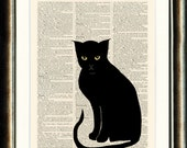 Elegant Black Cat/Chat Noir - vintage image printed on a page from a late 1800s  Dictionary Buy 3 get 1 FREE
