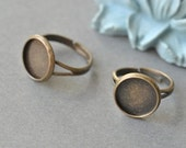 50Pcs Adjustable  Antique Brass Blank Rings Base With 12mm pad