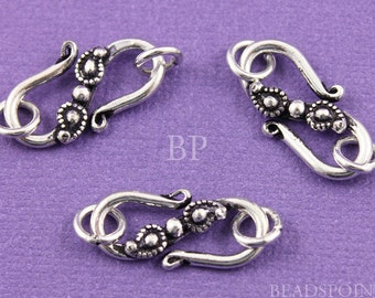 Bali Sterling Silver Heavy Duty S Hook Clasp, 2 Rings, Paisley Detail, Oxidized Finish, Lovely Handmade Jewelry Accent, 1 Piece (BA-5428)