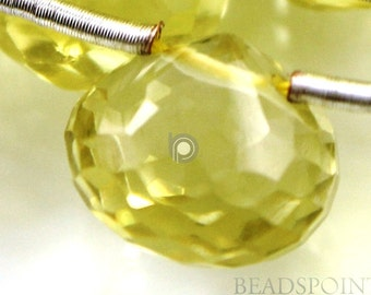 Natural '' NO TREATMENT'' Lemon Topaz Small Micro Faceted Onion Drops, AAA Quality Gemstones 10 to 11mm , 1 Strand (LTZ10-11Onion)