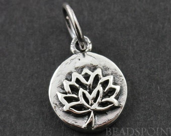 Sterling Silver Lotus Cutout on a Raised Circle Charm / Pendant with Jump Ring, Bird Life Jewelry Component, (SS/CH4/CR56)