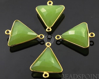 Apple Green Chalcedony Bezel Triangle Connector Gemstone Component, 24K Gold Vermeil Over Sterling Silver,  18mm, 1 Piece, (BZC7579)